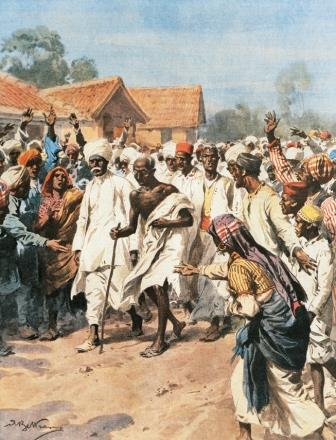 'Gandhi and Eighty Martyrs going towards the Jalalpur saltmines'
