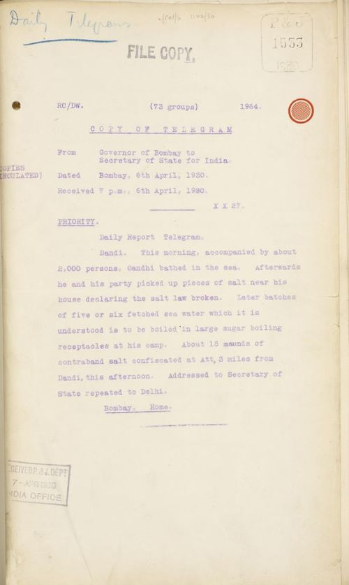 Telegram from the Governor of Bombay to the Secretary of State for India, 6 April 1930