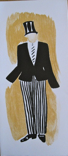 Costume design for a man's black jacket, striped trousers and top hat