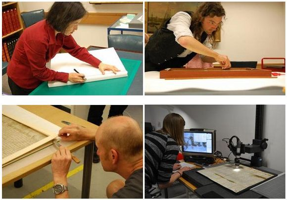 A set of four images. Top left: A conservation scientist cuts white foam on a green cutting board. Top right: A customer inspects the frame which lays on a table. Bottom left: A conservator uses a knife to prise open two layers of a mount board with the Magna Carta inside. Bottom right: An imaging scientist inspects the Magna Carta under magnification. The Magna Carta rests on a flat surface with a microscope above it; the magnified image appears on a computer screen.