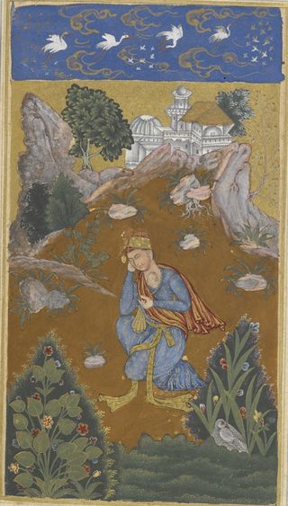 Shahji wanders in search of his beloved Mahji, whose image is ingrained on his heart.  Hand A, Bijapur 1591.  British Library, Add. 16880, f.49v.