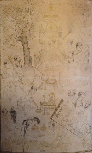 A royal picnic possibly of Burhan II Nizam Shah of Ahmadnagar (r. 1591-95). Ahmadnagar, 1590-95. British Library, Add.Or.3004