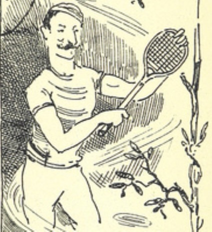 Drawing of man playing tennis