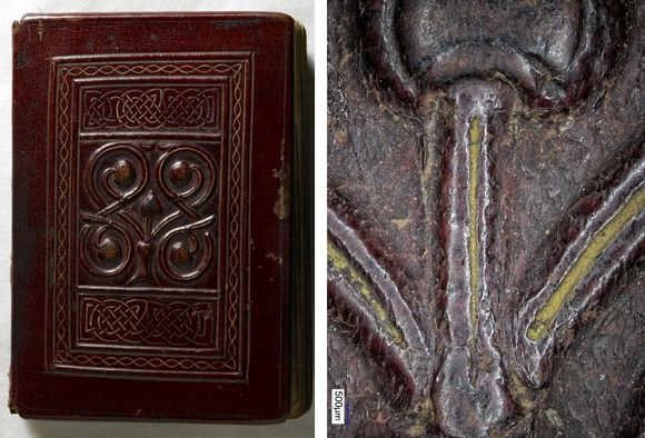 Two images stitched together. Left: The cover of the St Cuthbert Gospel, in a dark red leather with a raised floral motif in the center surrounded by a frame of Irish designs. Right: A magnified view of the raised floral motif.