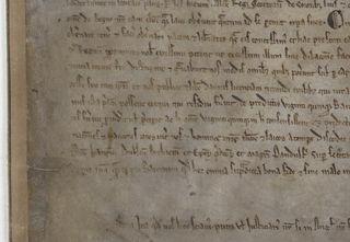 A close up of the bottom left of Magna Carta 1215.