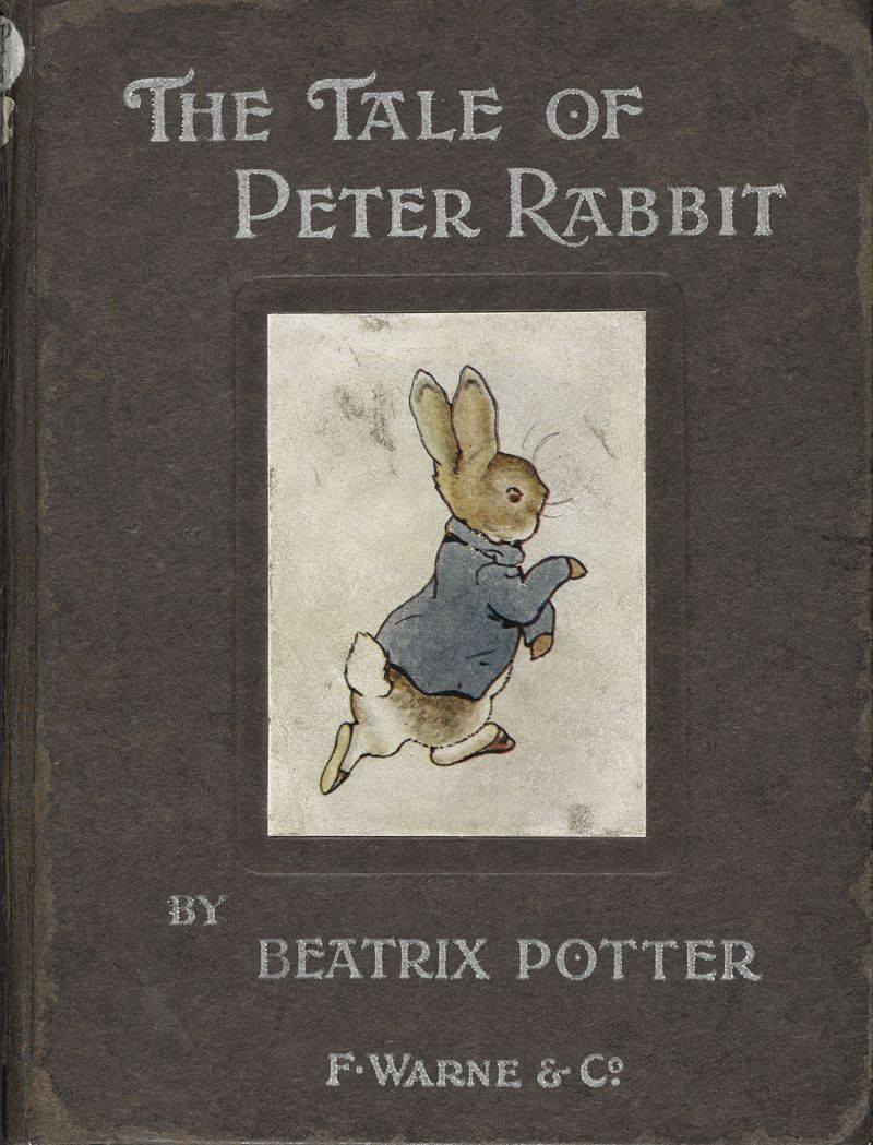 The cover of Beatrix Potter's 1902 edition of The Tale of Peter Rabbit on display in Animal Tales at the British Library