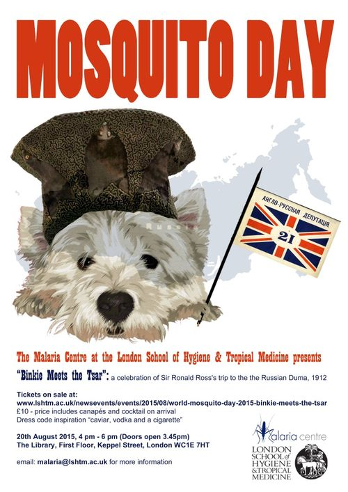 Mosquito Day poster featuring Binkie the dog