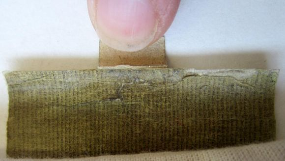 The tip of a finger holds a scroll open. The finger is about one-third the width of the scroll, showcasing just how small the scroll is. The text is very tiny.