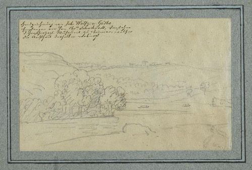 Drawing of a a river winding through an undulating and partly wooded landscape; with a handwritten inscription in German in the top left-hand corner