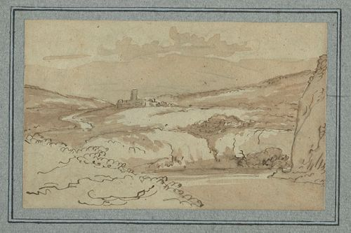 Drawing of a landscape with a ruined castle on a hill