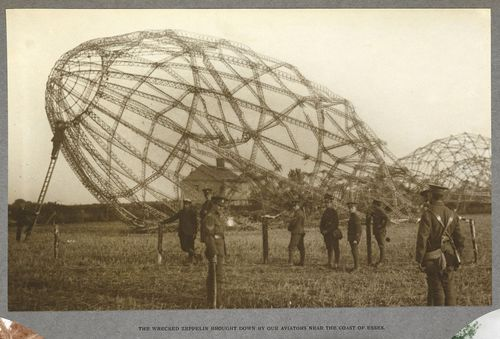 Skeleton of an airship which crashed in a field