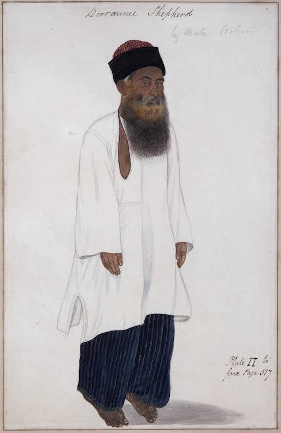 Dooraunee Shepherd. By a Delhi artist, 1808-10. Watercolour; 25 by 16 cm. Elphinstone's Caubul, pl. II (Dooraunee Shepherds), left hand figure only. Add.Or.4671