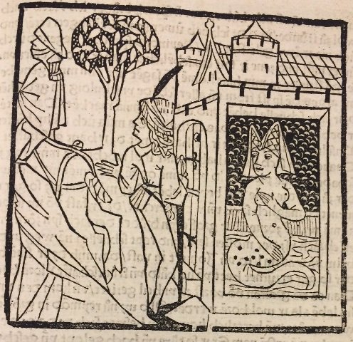 Woodcut showing Mélusine bathing in secret