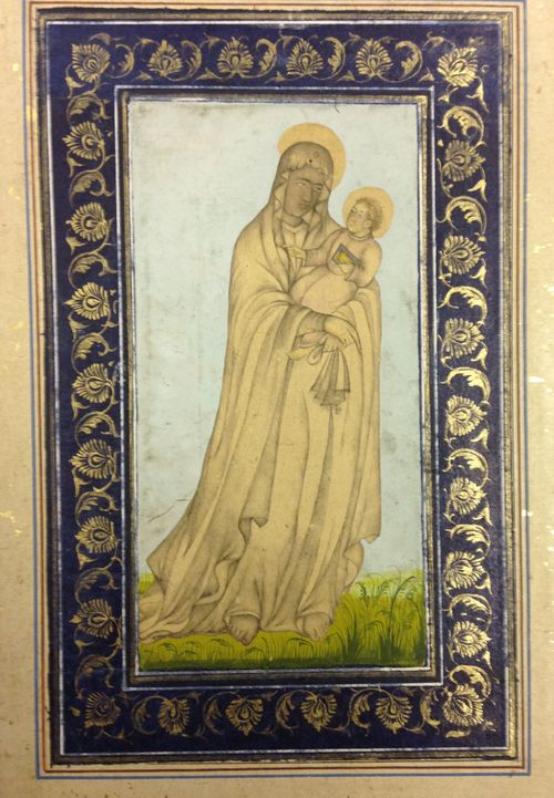 Virgin and Child.  Mughal, 1620-30.  Wash drawing with added colour.  136 x 70 mm.  British Library, J. 6, 3.