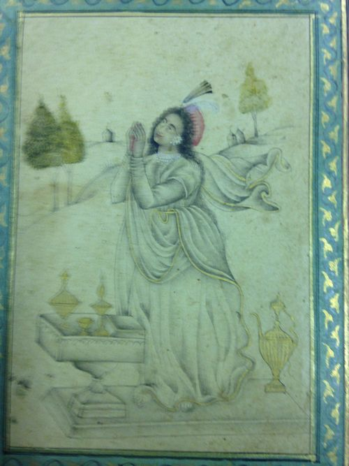 An allegorical figure, perhaps intended for the penitent Magdalen.  Wash with colour.  Deccani , 1640-60.  135 by 93 mm.  British Library, J.14, 6.