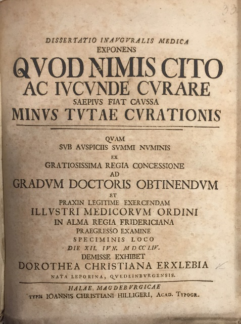 Title-page of Dorothea Erxleben's Latin dissertation