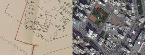 Sharjah aerodrome - 1947 map next to modern aerial photograph