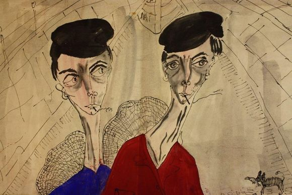 A close-up of artwork which features two figures. They are both wearing black berets, are smoking, and one has a blue shirt while the other has a red shirt.