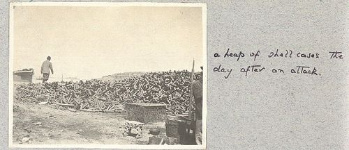 Photo of heap of shell cases after an attack