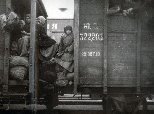 Photograph of Russian refugees on board a train, 1919