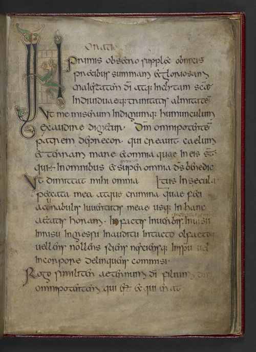 A page from the Royal Prayerbook, showing an initial with a biting beast.