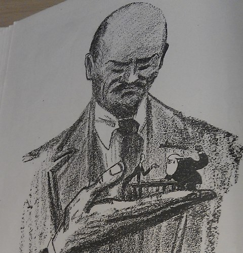 Cartoon of Lenin holding two agruing politicians in his hand