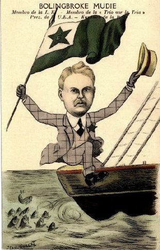 Caricature of Mudie sitting in a boat and waving an Esperanto flag
