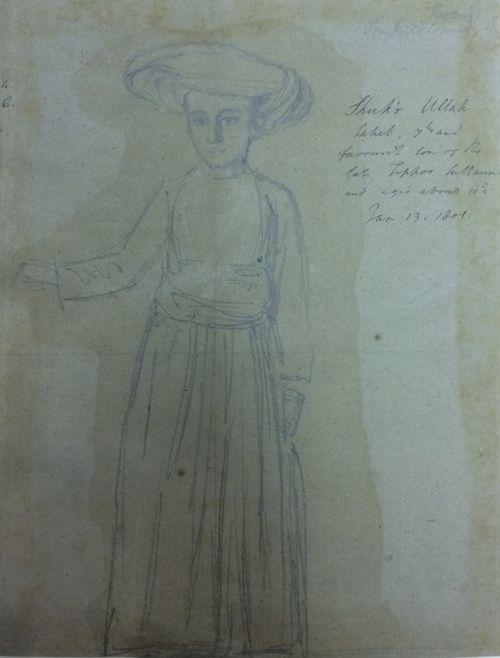 Drawing of Shukr Ullah, 7th son of Tipu
