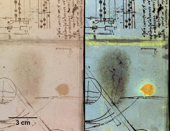 Two images of the same area of the Da Vinci page, one showing a erased area, the next showing a standing figure now visible under multi-spectral imaging.