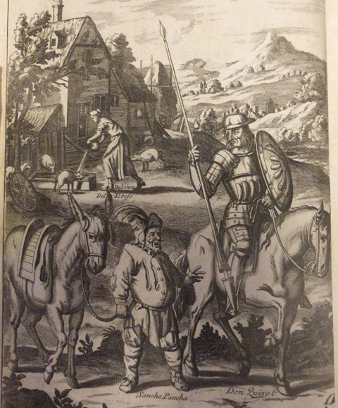 Engraving of Don Quixote on his horse and Sancho Panza leading his donkey