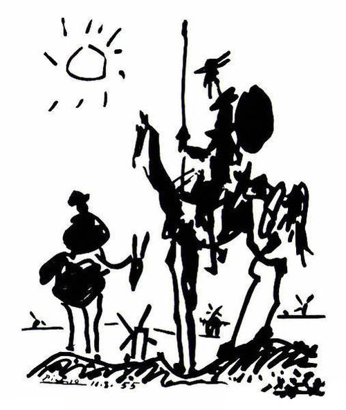 Don Quixote and Sancho Panza in a landscape with windmills