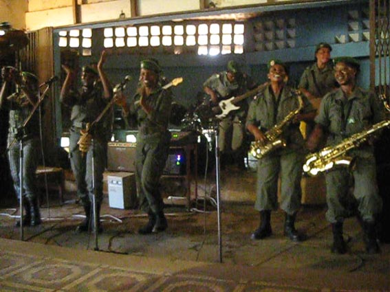 All women band dressed in army khakis