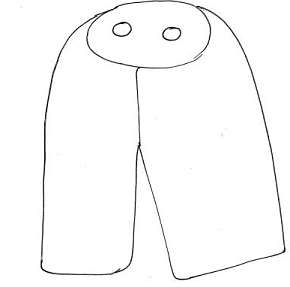 A sketch outline of a Torah Mantle, in black on white background. The basic outline is similar to a skirt, adjoined to a circular area with two holes, which is where the scroll handles protrude.