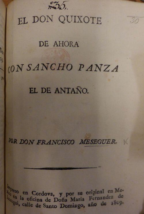 Title-page of 'El Don Quixote de ahora con Sancho Panza el de antaño'