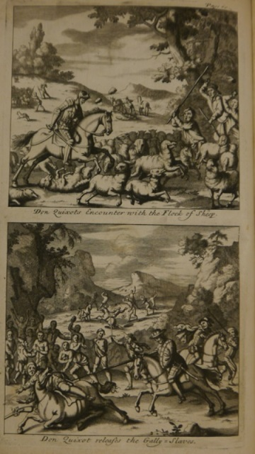 Illustrations of Don Quixote attacking a flock of sheep and rescuing a group of galley-slaves
