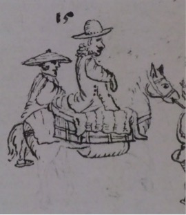 Left: Self-portrait of Engelbert Kaempfer from a drawing of the Dutch merchants' official journey to Edo. (British Library Sloane Ms 3060 fol. 501)