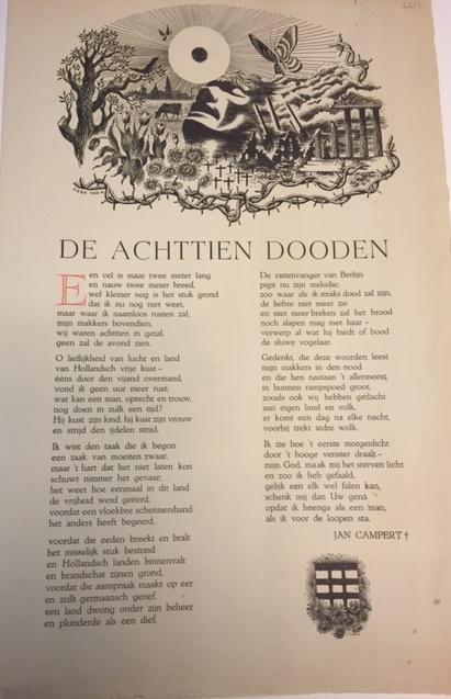 Illustrated broadside of the poem 'De achttien dooden'