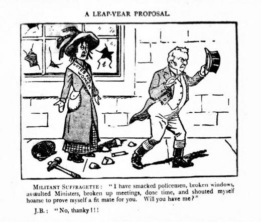 Cartoon - A Leap Year Proposal with a suffragette proposing to John Bull