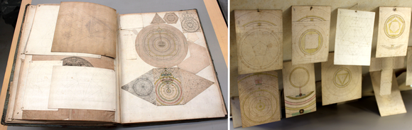 Two images showing pages of the volume with geometric drawings. On the left a page has multiple drawings inserted in varying sizes, and on the right is a close-up of smaller drawings hanging from a page.