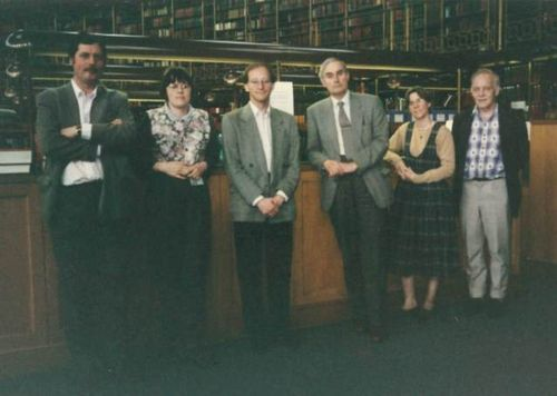 Photograph of British Library staff members in the Round Reading Room