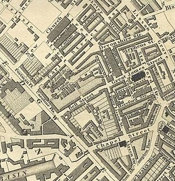 Greenwood's Map of London (1827) showing the area where the Armstrong family lived
