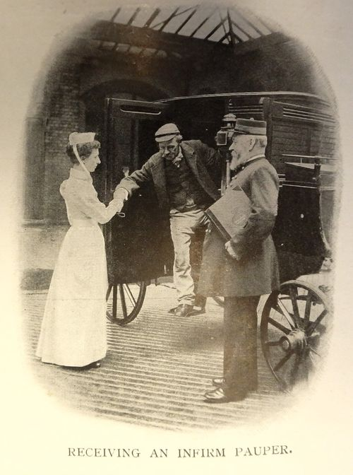 Receiving an infirm pauper at St Marylebone Workhouse