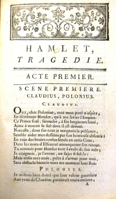 Opening of Ducis' French translation of 'Hamlet', beginning with a scene between Claudius and Polonius
