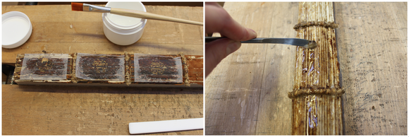 Two images showing the spine being cleaned. On right left, three panels of Japanese tissue protect the degraded leather, and on the right, a poultice is used to remove adhesive from the spine using a metal spatula.