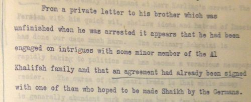 Extract of a letter sent by the Political Agent at Bahrain, Captain Terence Keys, to the Political Resident in the Persian Gulf, 4 November 1914, describing the German Herr Harling's activities at Bahrain