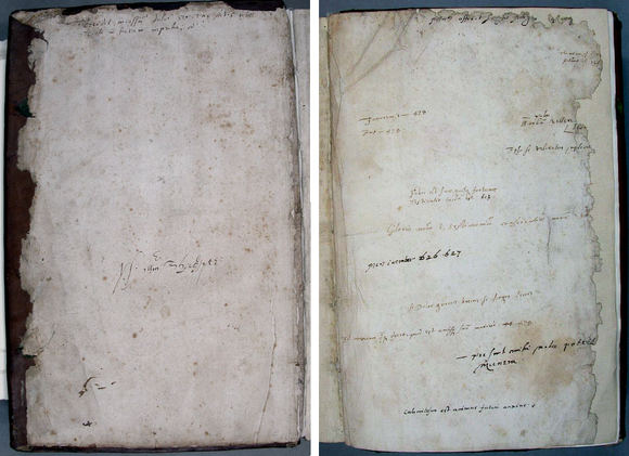 Two sheets side by side which have similar damaged areas.