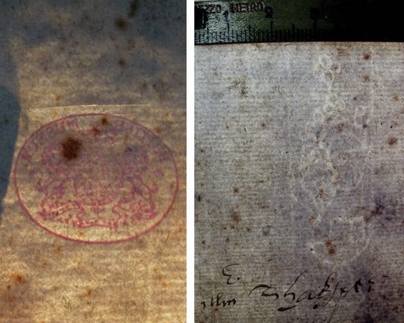 Left: A close up of the British Museum stamp in red. Right: A close up of the watermark.