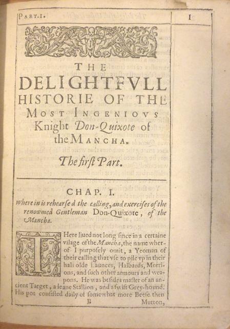 Opening of Thomas Shelton's translation of 'Don Quixote'