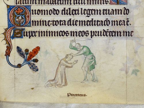 A detail from the Queen Mary Psalter, showing a marginal illustration of the martyrdom of St Pancras.