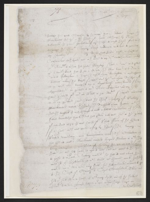 Part of a letter dated 23 October 1611 which was sent by William Adams at Hirado to his fellow countrymen at Bantam